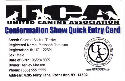 UCA Show Entry Card