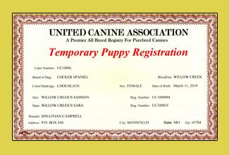 UCA Puppy Certificate